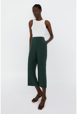 Green Wide Crop Trouser