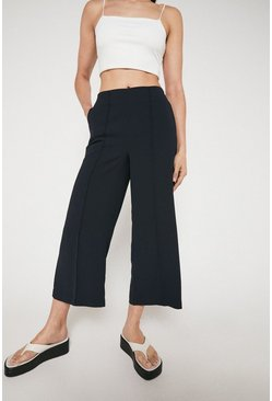 Navy Wide Crop Trouser