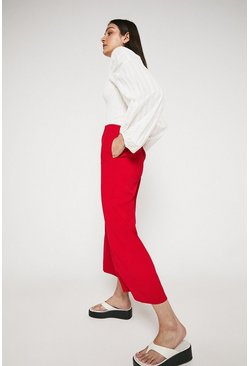 Red Wide Crop Trouser