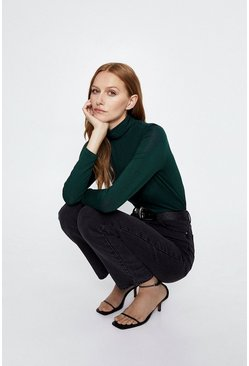 Green Long Sleeve Roll Neck Top