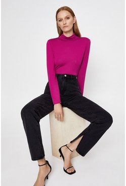 Pink Long Sleeve Roll Neck Top