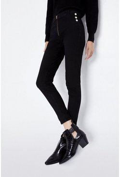 Black Skinny Button Detail Jegging