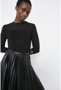 Black Sheer Sleeve Woven Mix Top
