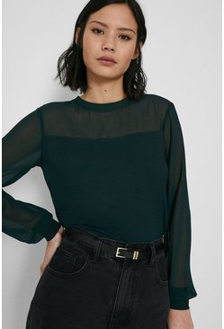 Dark green Sheer Sleeve Woven Mix Top
