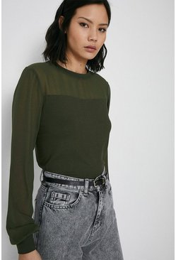 Khaki Sheer Sleeve Woven Mix Top