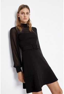 Black Mesh Mix Ponte Dress