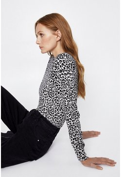 Grey Animal Printed Crew Jumper