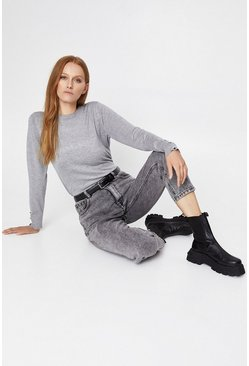 Light grey Button Cuff Crew Jumper