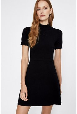 Black Pointelle Yoke Funnel Knitted Dress