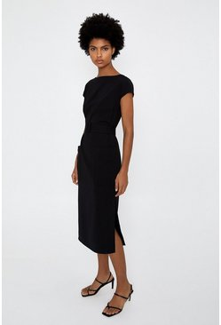 Black Plain Soft Shift Dress