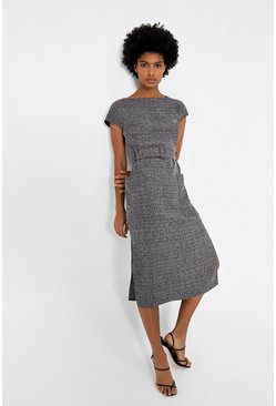 Grey Textured Soft Shift Dress