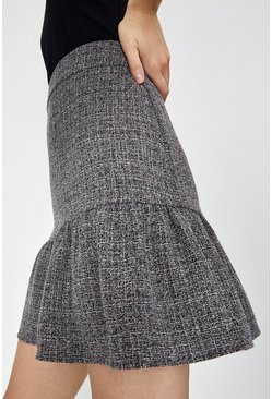 Grey Texture Frill Skirt