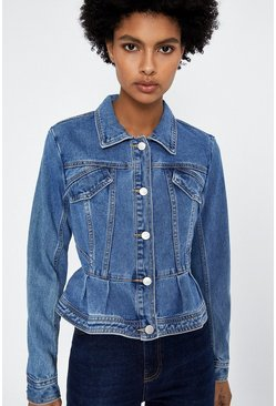 Mid wash Peplum Detail Denim Jacket