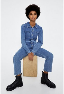 Mid wash Belted Denim Jumpsuit
