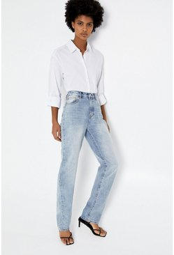 Bleach wash Long Straight Jeans